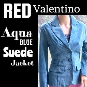 ▪️RED Valentino▪️Aqua Blue Suede Leather Jacket